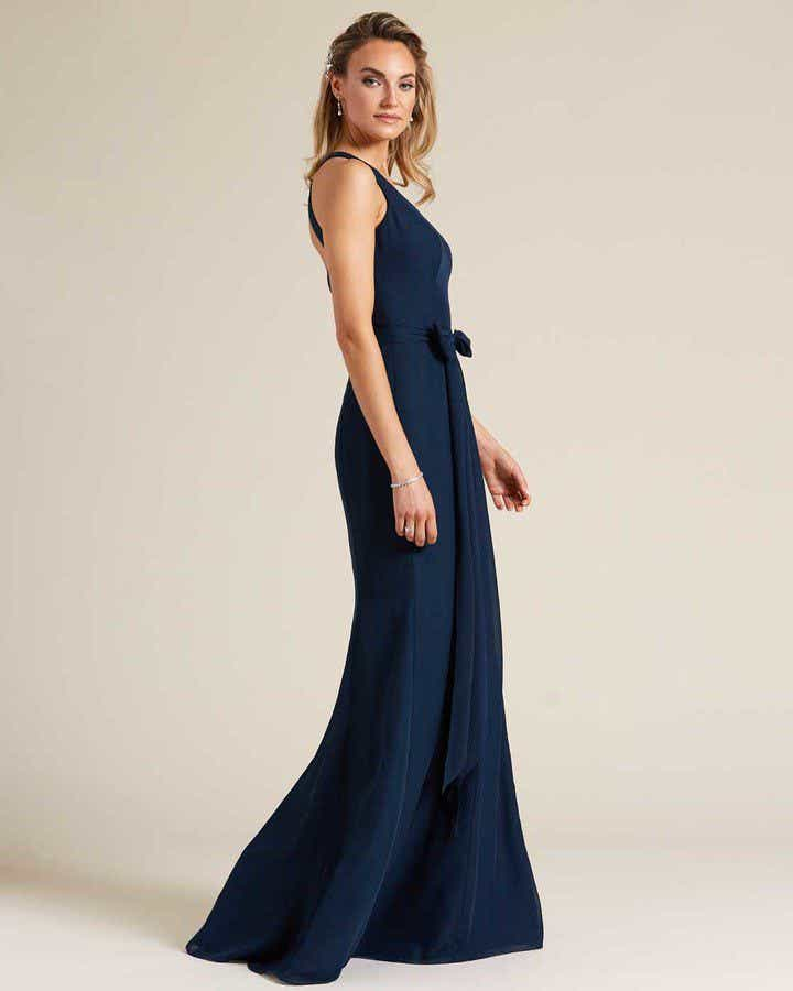 Navy Blue Sleeveless Bow Detail Formal Gown - Side