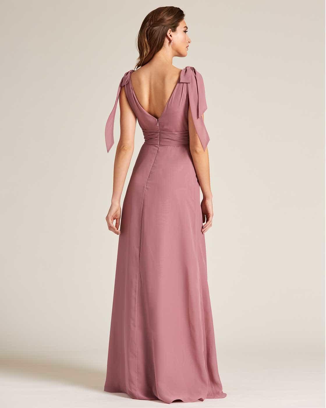 Rose Pink Bow Sleeve Long Skirt Dress - Back