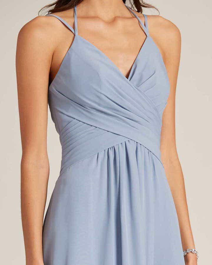 Light Blue Criss Cross V Neck Style Formal Gown - Detail