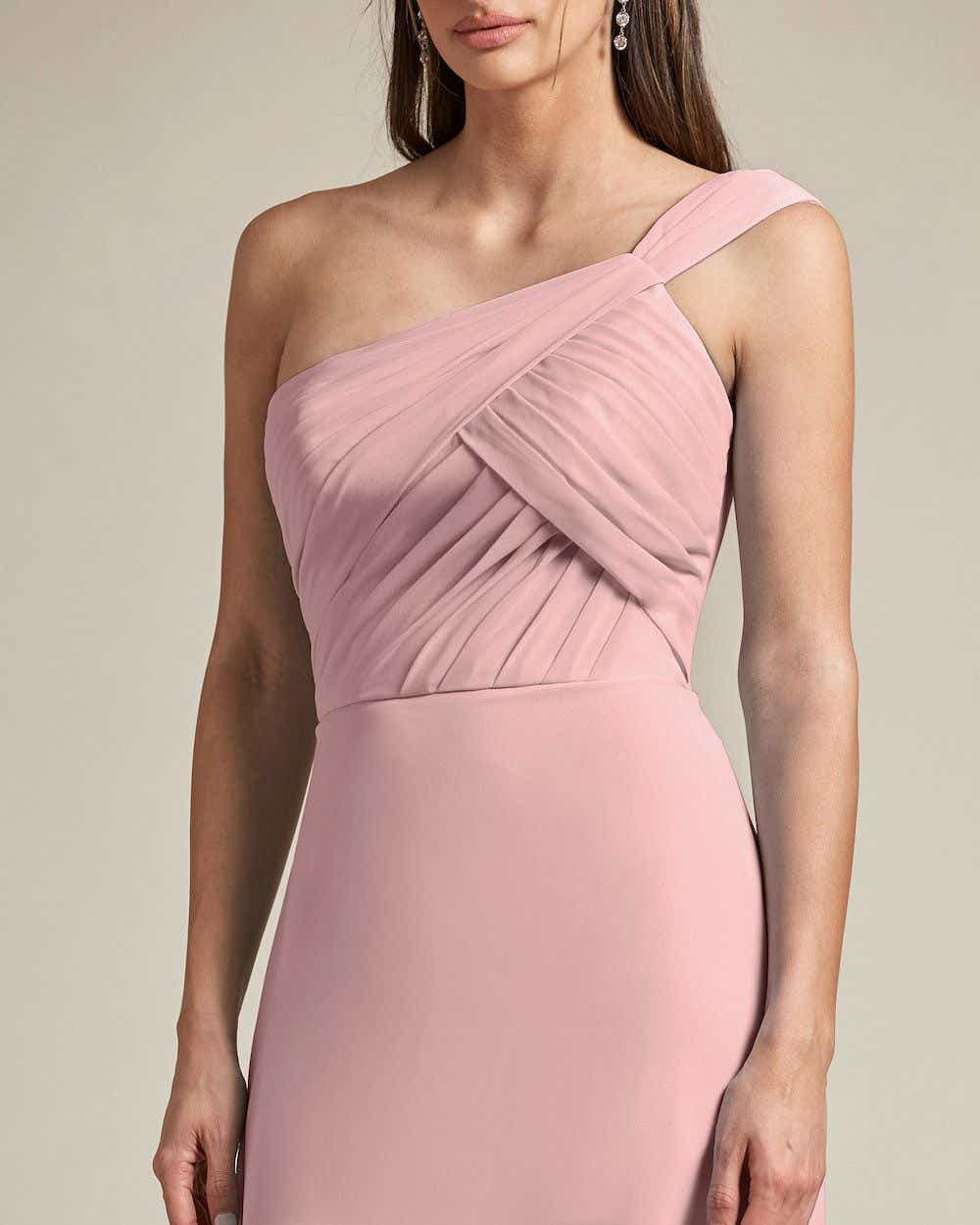 One Shoulder Strap Pleated Top Long Skirt Maid of Honor Dress - Detail