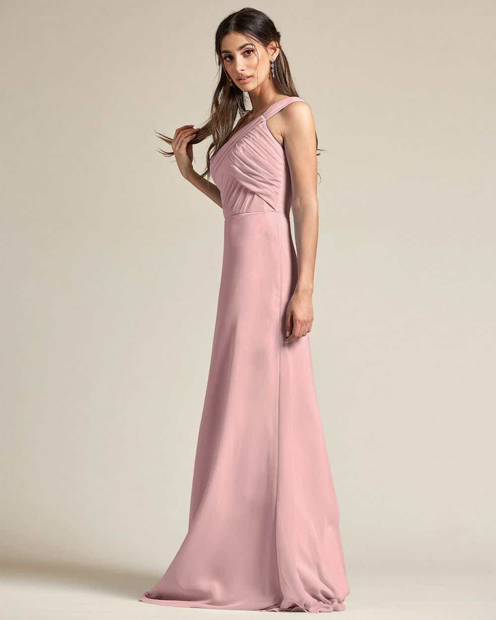 One Shoulder Strap Pleated Top Long Skirt Maid of Honor Dress - Side