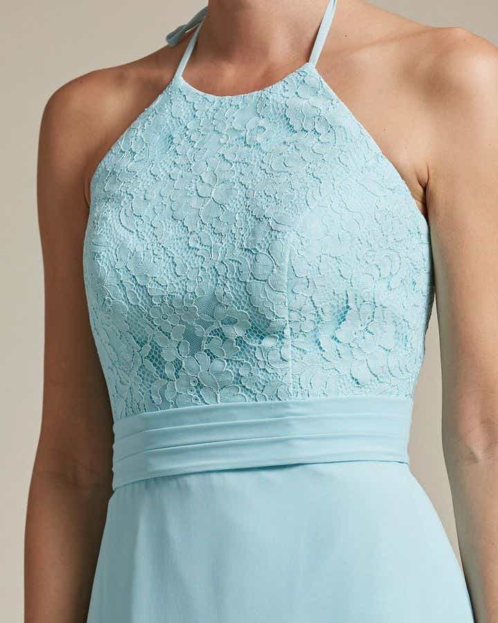 Sexy Halter Top With Embroidery Long Chiffon Skirt Bridesmaid Dress - Detail