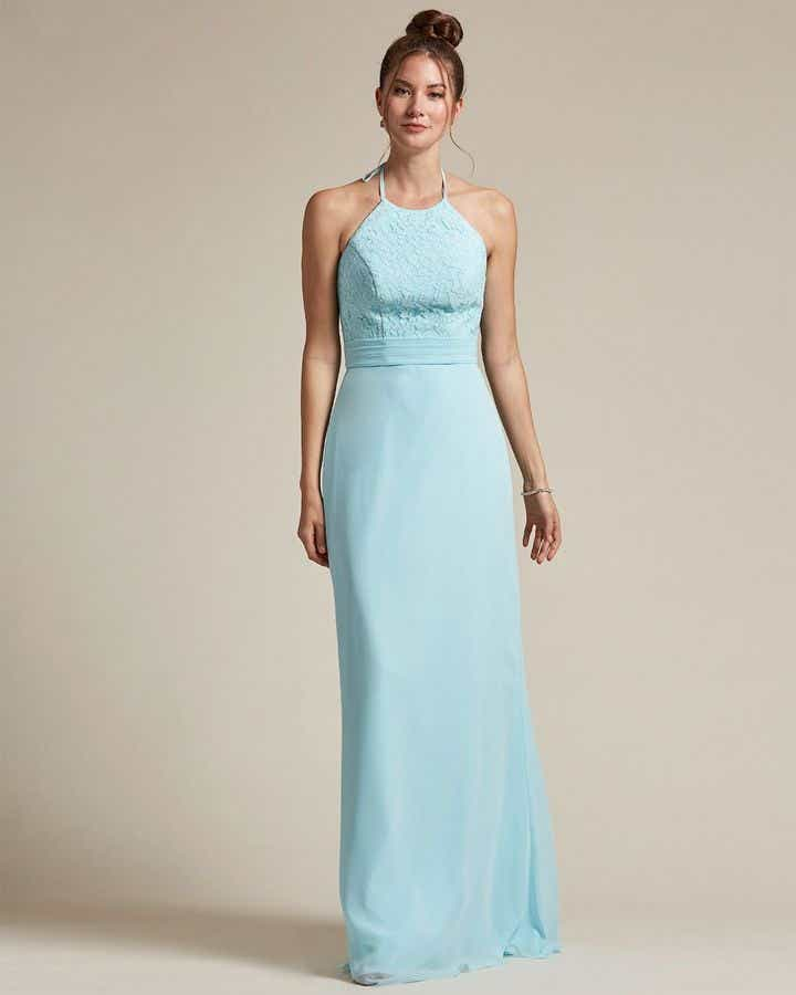 Sexy Halter Top With Embroidery Long Chiffon Skirt Bridesmaid Dress - Front