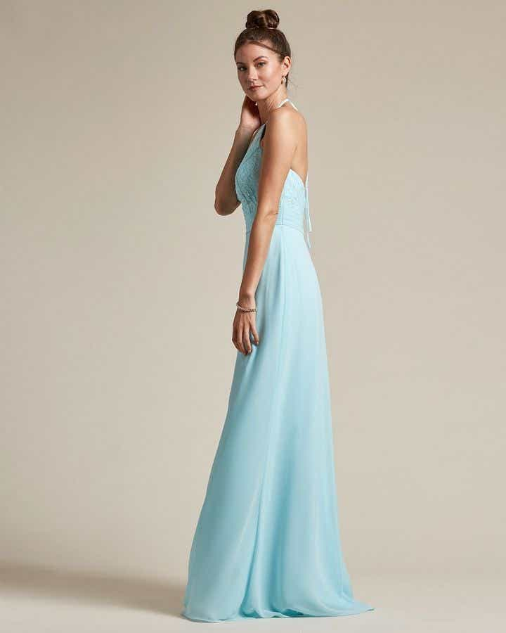 Sexy Halter Top With Embroidery Long Chiffon Skirt Bridesmaid Dress - Side