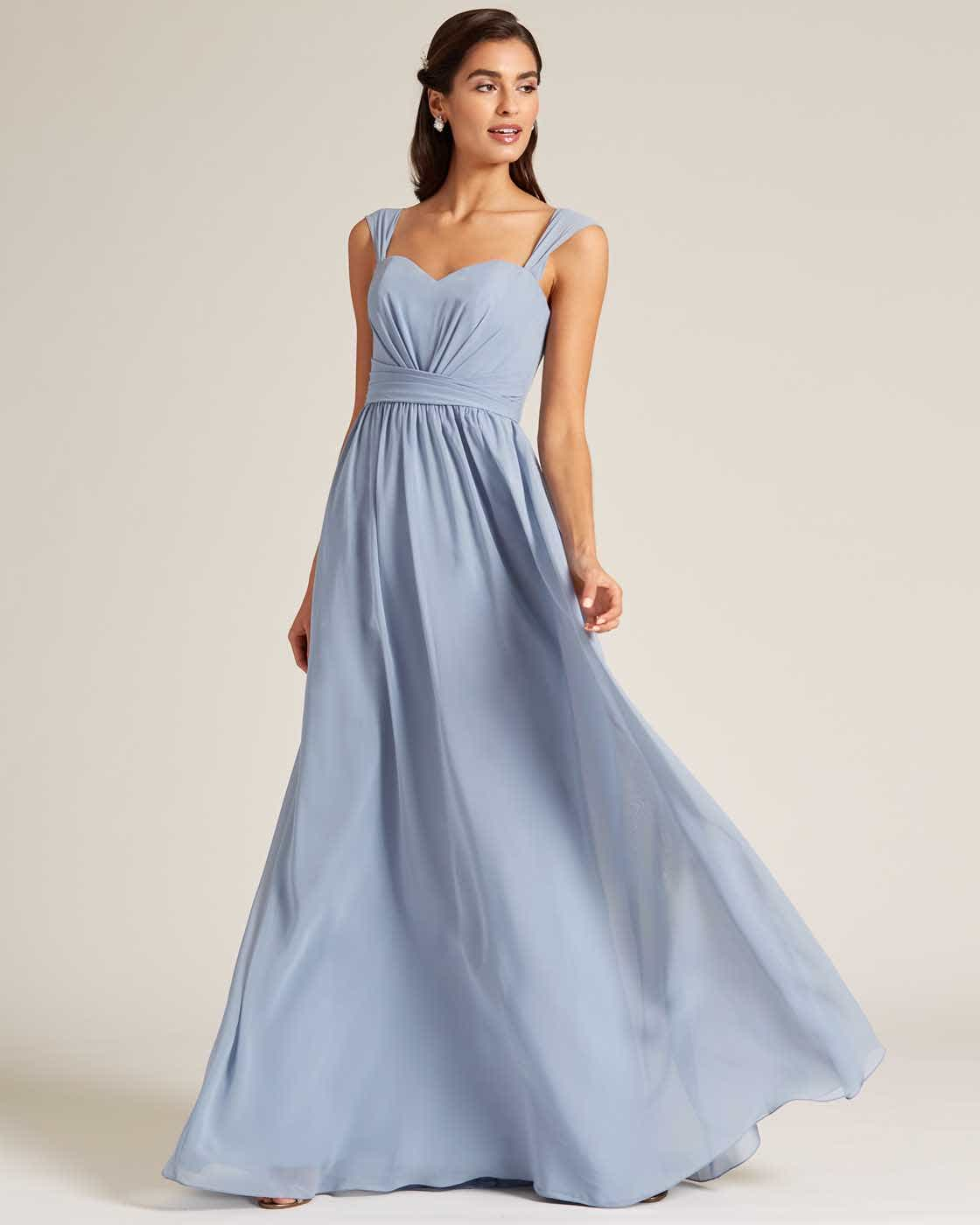 Blue Thick Strap Sweetheart Neckline Dress - Front
