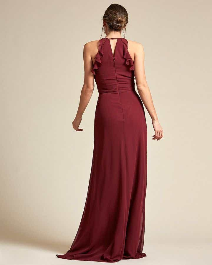 Racerback Design With Flowy Detail Long Skirt Maid of Honor Dress - Back