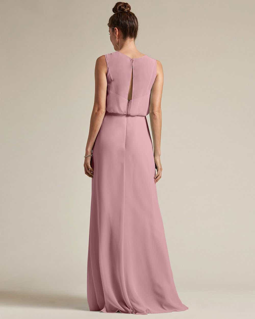 Illusion Style Boat Neck Two Piece Maxi Dress - Back
