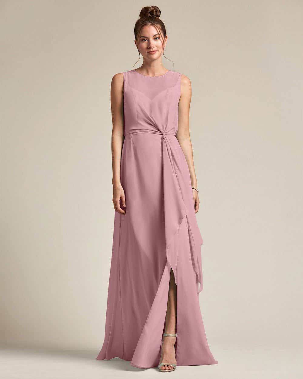 Illusion Style Boat Neck Two Piece Maxi Dress - Front
