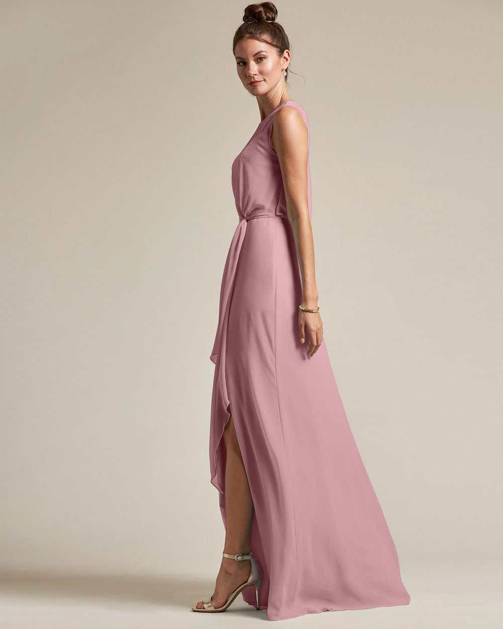 Illusion Style Boat Neck Two Piece Maxi Dress - Side