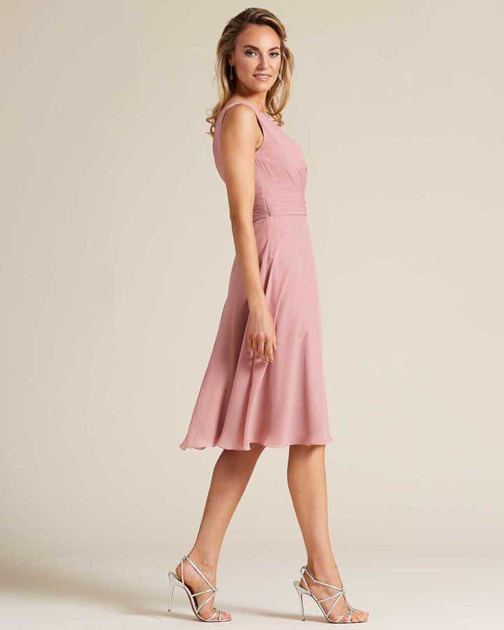 Rose Pink Thick Strap V Neck Dress - Side