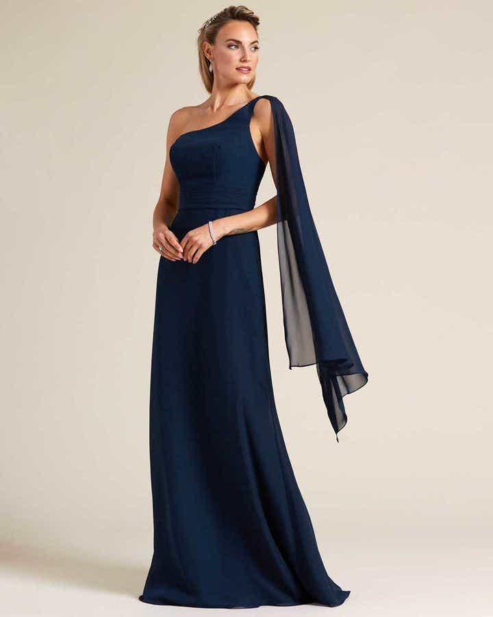 Blue One Shoulder Cape Sleeve Dress - Front