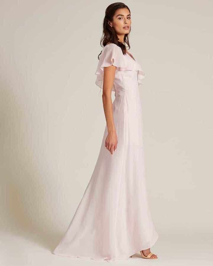 Pink Ruffle Top Long Skirt Dress - Side