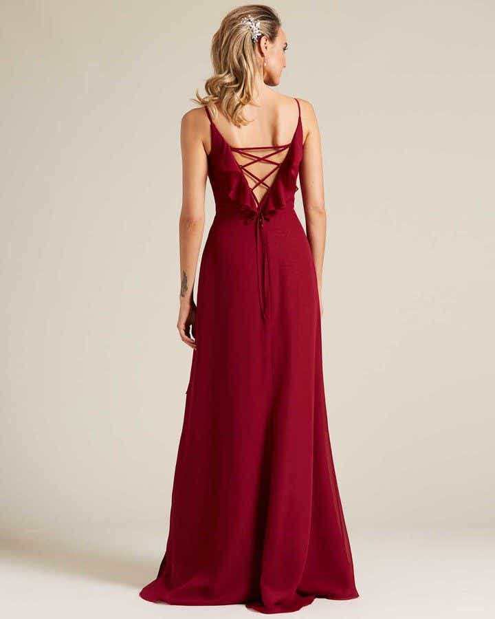 Ruby Red Criss Cross Back Ruffled Gown - Back