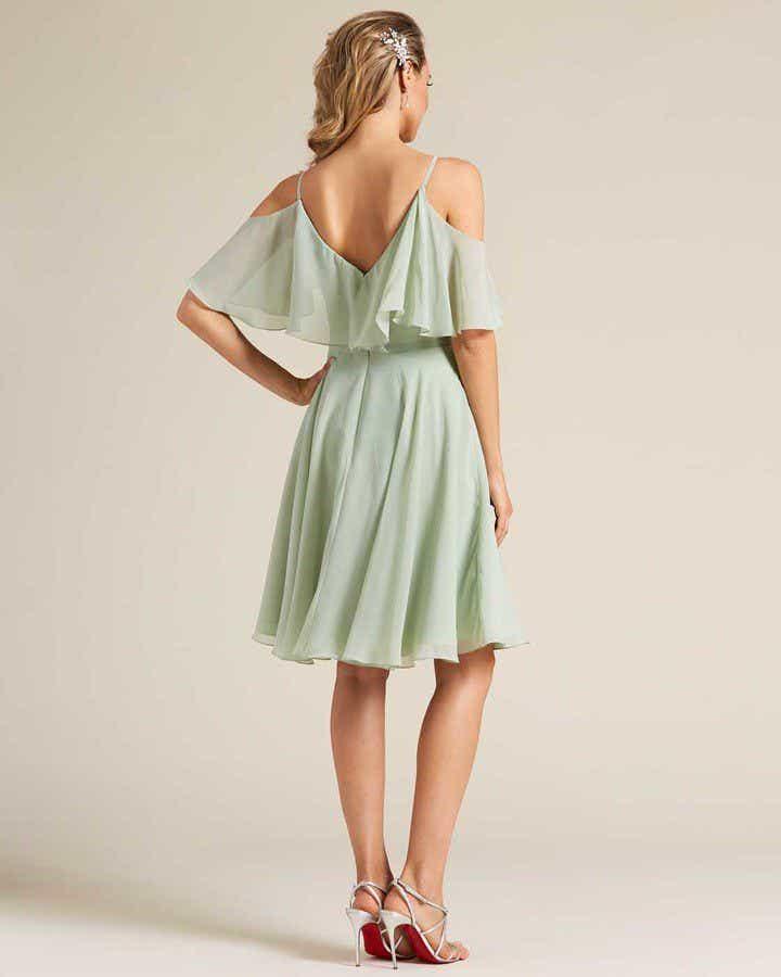 Green Flounce Top Short Dress - Back