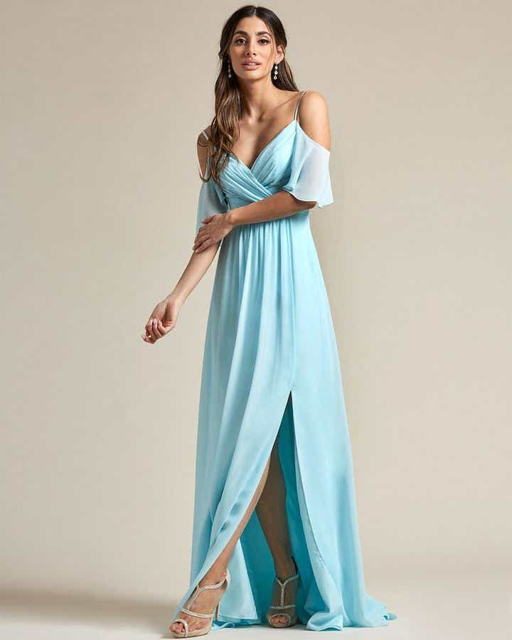 Thin Strap Cold Shoulder Design With Floundering Sleeves Bridesmaid Gown - Front