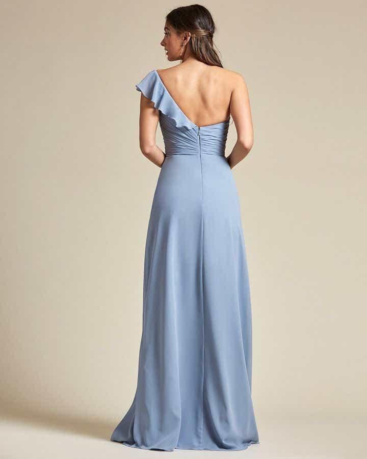 One Strap Cap Sleeve Maxi Dress - Back