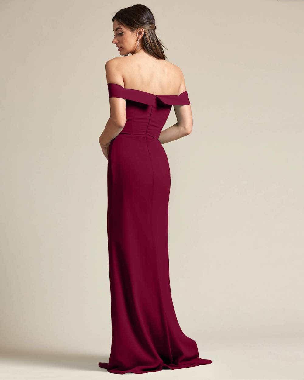 Over The Shoulder Classic Princess Maxi Dress - Back