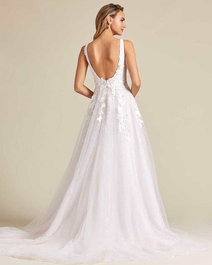 White Butterfly Embroidered Sleeveless Wedding Dress - Back