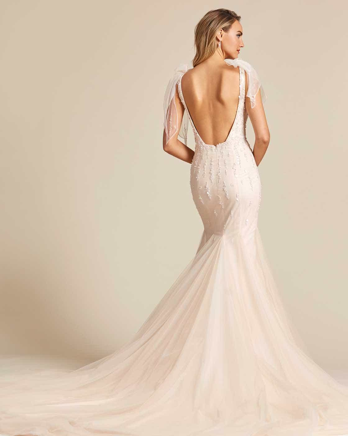 Vintage Style Champagne Sleeveless Wedding Gown - Back
