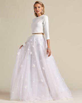 Minimal Style White Two Piece Wedding Dress - Side