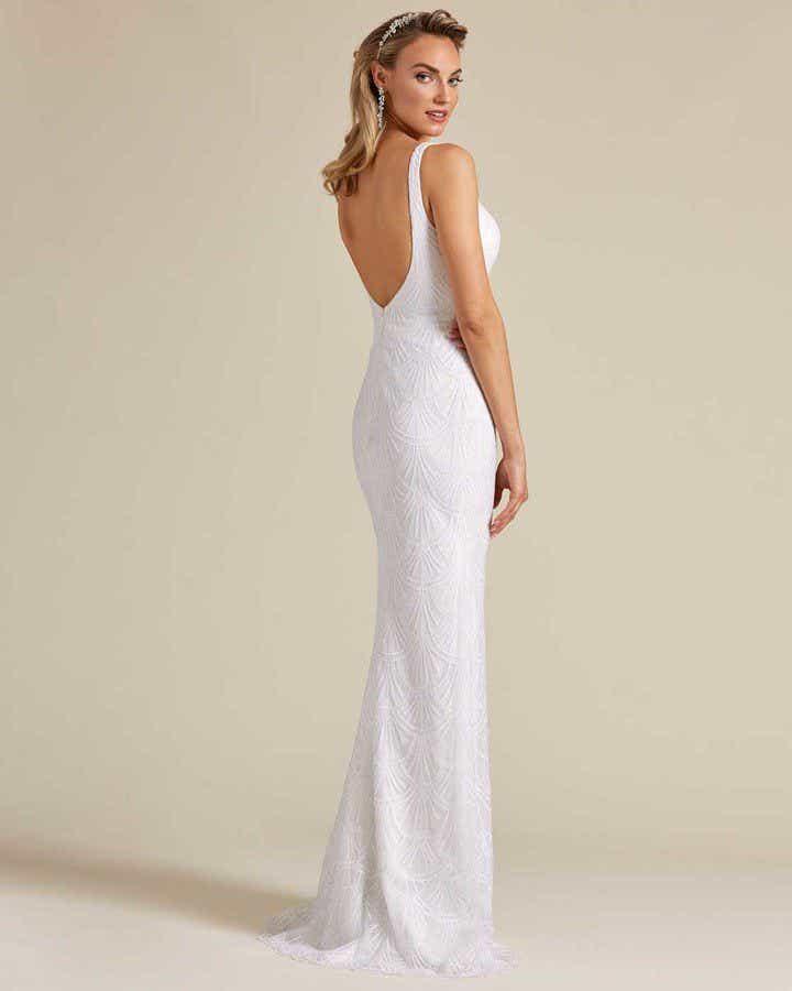 Ivory White Long Veil Wedding Gown - Back