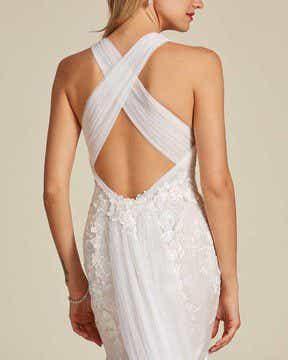 Classic Style Off White Mermaid Wedding Dress - Back