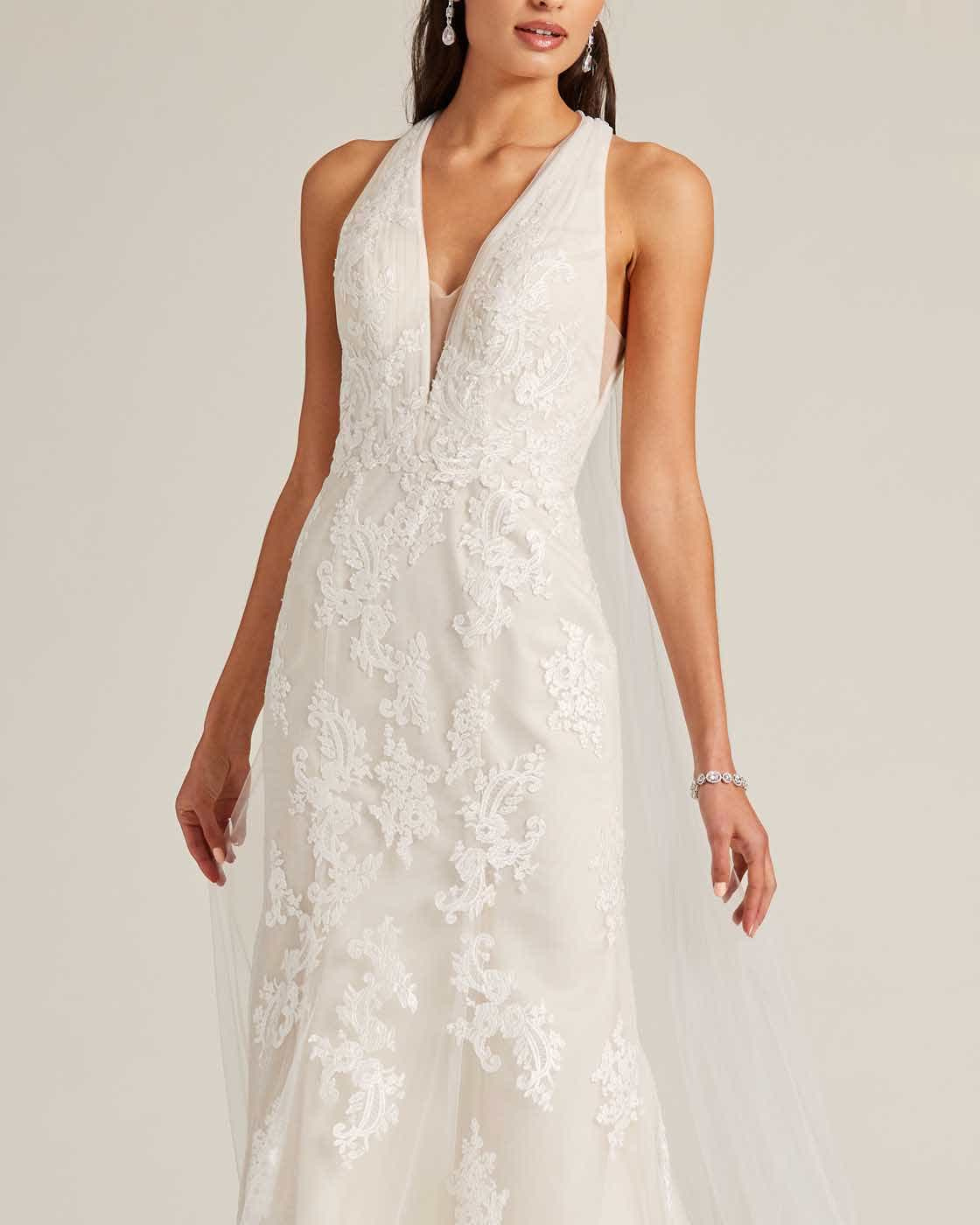 White Plunging V Neck Line Wedding Gown - Detail