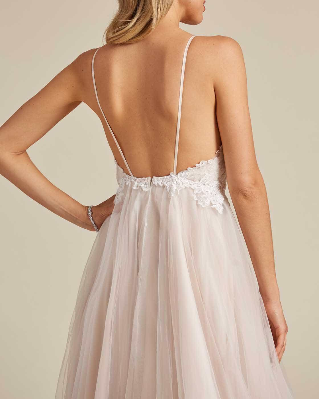 Champagne White Embroidery Long Length Wedding Gown - Detail