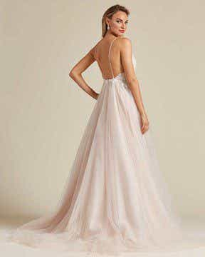 Champagne White Embroidery Long Length Wedding Gown - Back