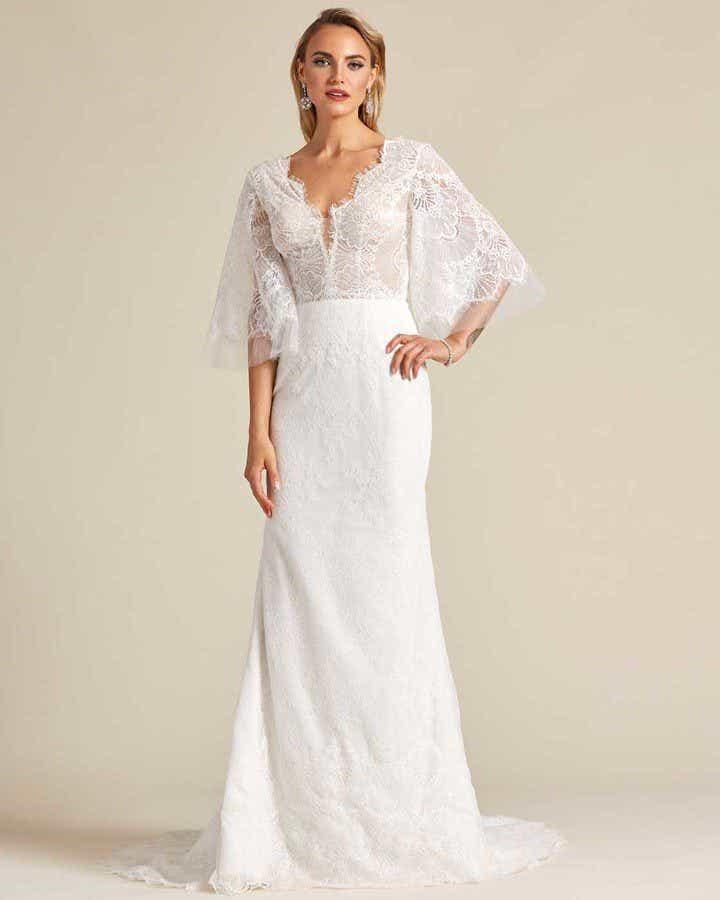 White Bell Sleeves Fishtail Wedding Dress - Front
