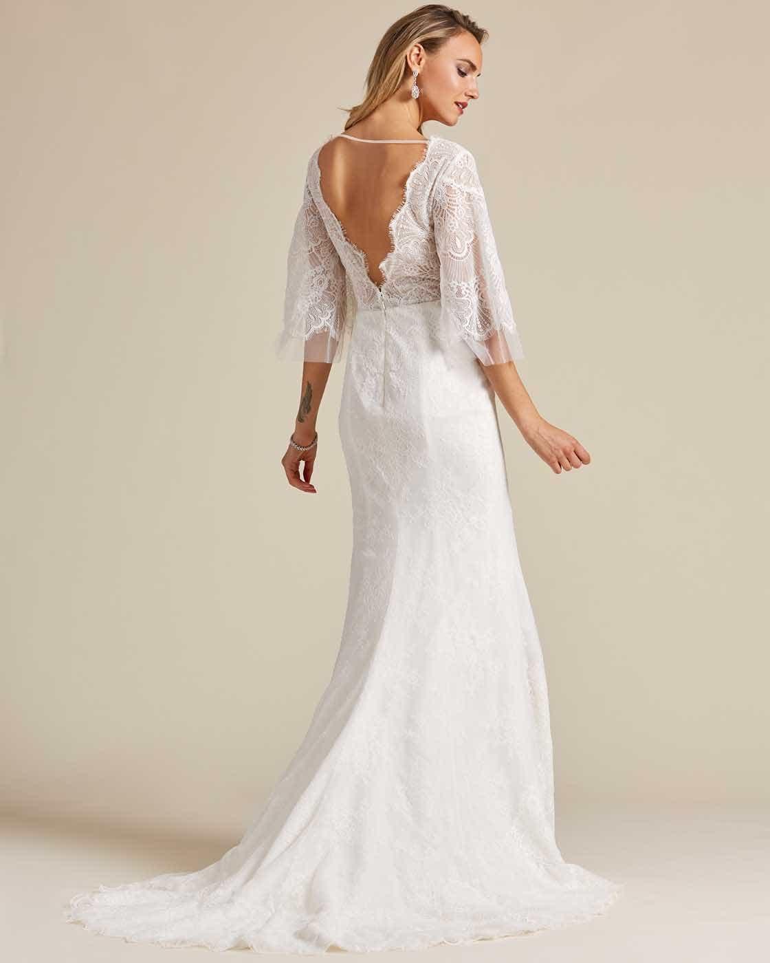 White Bell Sleeves Fishtail Wedding Dress - Back