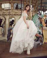Beige Off Shoulder Ruched Formal Gown - Editorial