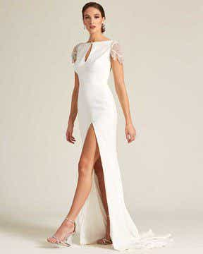 White Embroidered Cap Sleeve Wedding Dress - Detail Side