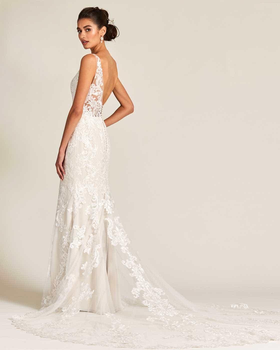 Vintage Style White Applique Wedding Gown - Detail Back