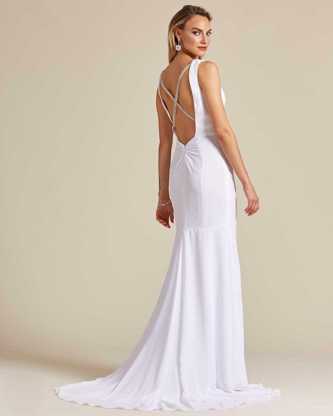 Ivory White Criss Cross Wedding Dress - Back