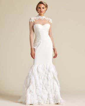 White Ivory Ruffled Mermaid Tail Wedding Gown - Front