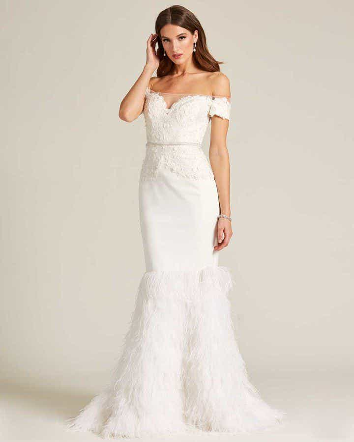 White Sweetheart Feather Skirt Wedding Gown - Front