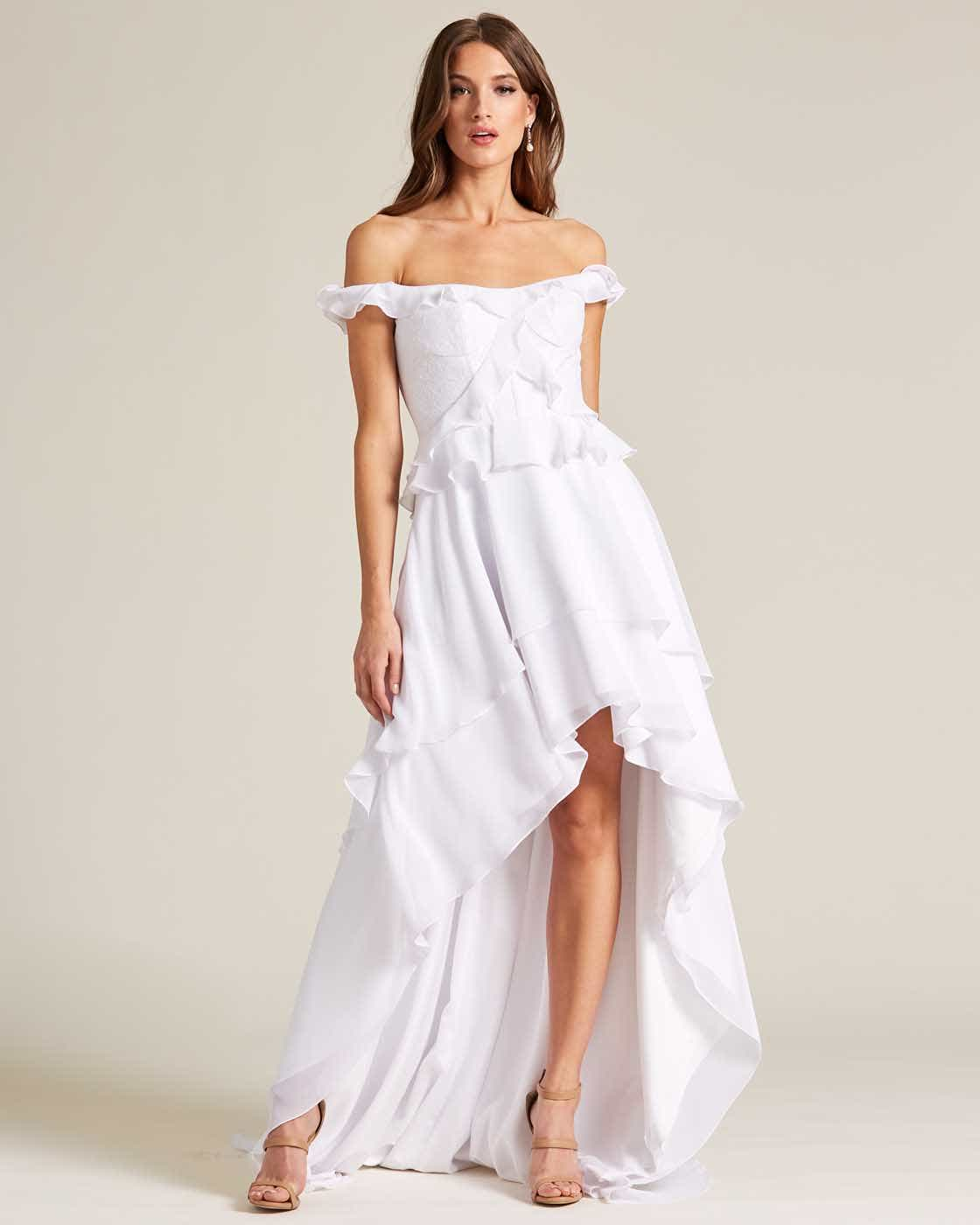 Classic Open Back Ruffle Style Wedding Dress - Front